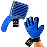 BLACK DOG Slicker Brush Pet Grooming Glove for Dogs and Cats Shedding Small Medium Large Breeds (Blue) Pet Hair Remover Glove-Massage Five Finger for Dog, Cat with Long &Short Fur, Combo Pack 2
