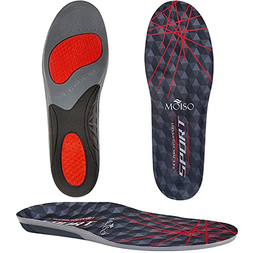 MOISO GEL Sports Work Comfort Insoles with Arch Support, Trimmable Inserts...