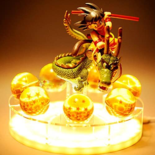 CYCPACK Luzes noturnas LED Son Goku Impressão 3D Anime Dragon Ball Z Shenlong Bola de cristal Decoração Luminária USB Desktop Fixture PVC DBZ Figura Fixture presente para amantes de colecionadores