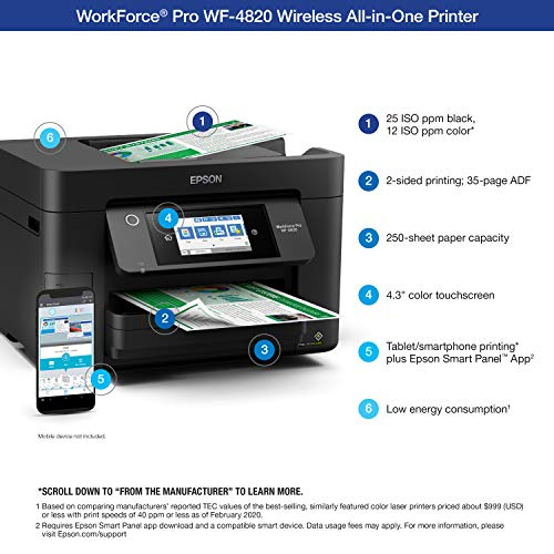 "Epson Workforce Pro WF-4820 Wireless All-in-One Printer with Auto 2-Sided Printing, 35-Page ADF, 250-sheet Paper Tray and 4.3"" Color Touchscreen, Works with Alexa, Black, Large Missouri"