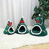 QIEP Gato mascota perro árbol de Navidad forma terciopelo cálido casa cueva camas interior gatos acogedor lana iglúo mascota casa (L)