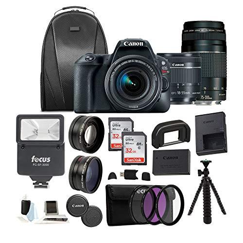 Canon EOS Rebel SL2 Digital Camera with 18-55mm & 75-300mm Lens + 32GB SD Card + Tripod + Filter Kit +Flash & Bag –Holiday Bundle