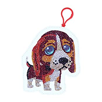 HEALLILY DIY 5D Diamond Painting by Number Kit Small Wallet Backpack Keychains Diamond Painting Pendant Diamond Coin Purse Hanging Pendants for Purse Backpack DIY Making  Small Dog 12.5 x 13.5cm