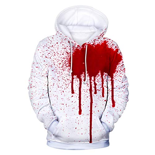 Lowest Prices! Unisex Novelty Hoodies 3D Digital Blood Print Sweatshirt Pockets Pullover Autumn Wint...