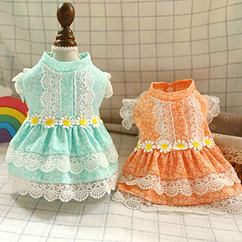 ABRRLO 2 Stück Prinzessin Hund Kleid Spitze Weste Rock Hundekleid süßer Sommer-Rock für Kleine Hunde Katze Mädchen Bekleidung Haustier-Kostüme