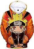 Hombre Sudadera con Capucha Naruto 3D Impresión Hoodie con Dibujos Manga Larga(M,Ponerse en Cuclillas)