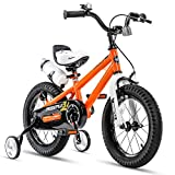 RoyalBaby Kids Bike Boys Girls Freestyle BMX Bicycle with Training Wheels Gifts for Children Bikes 14 Inch Orange