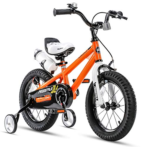 RoyalBaby Kids Bike Boys Girls Freestyle BMX Bicycle with Training Wheels Gifts for Children Bikes 14 Inch Orange
