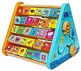 Centre activité bébé multijeux Montessori - Triangle activité en bois - Boulier, Alphabet , labyrinthe, Horloge - Cadeau enfants 5 en 1. Apprendre chiffre interactif Jouet bébé 1 an