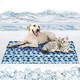Kühlmatte für Hund & Katzen Haustier Kühlmatte, Pet Dog Cooling Mat Selbstkühlende Matte Hunde Kühl Hundedecke für Zwinger / Sofa / Autositz / Bett / Boden, Schneeflockenmuster XXL(120*70cm)