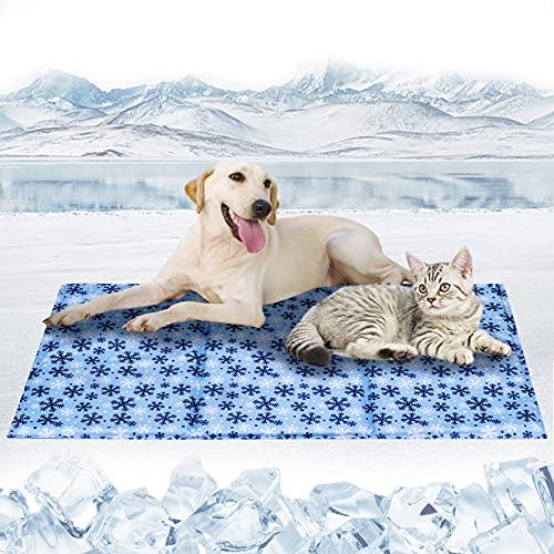 Tappetino Refrigerante per Cani Gatti Auto-Raffreddamento Pad per Cani e Gatti Gel Non Tossico Giaciglio Rinfrescante per Cani, Gatti, Animali, Fiocco di neve-XXL(120*70CM)