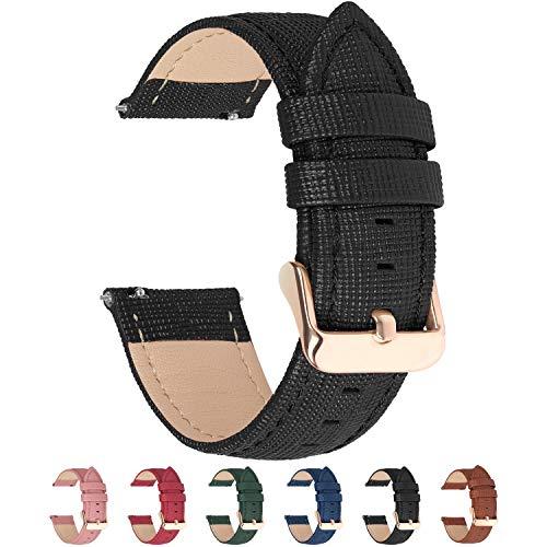 Fullmosa Uhrenarmband 22mm, Cross Leder Ersatzband für Samsung Gear S3 Classic/Frontier/Galaxy 46mm/Asus Zenwatch 2,22mm Schwarz
