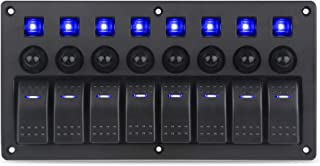 WATERWICH Marine Boat Car 8 Gang ON-Off Ignition 3 Pin Waterproof Toggle Rocker Switch Panel 12V/24V Circuit Breaker Blue LED Indicator for RV Vehicle Truck Trailer Yacht ATV (8 Gang Blue)