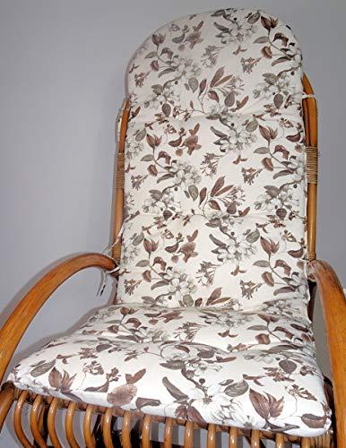 Rattani Auflage/Polster für Schaukelstuhl, Liegestuhl, Ersatzpolster Gr. 130 x 50 x 6 cm Stoff Venetto Motiv - Made in EU