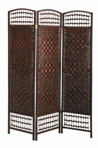 1 Stück Paravent aus Pappelholz mit tabakfarbenem Weidengeflecht, Breite 120cm x Tiefe 2cm x Höhe 170