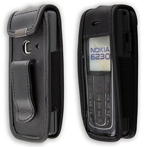 caseroxx Ledertasche mit Gürtelclip für Nokia 6230, 6230i aus Echtleder, Handyhülle für Gürtel (mit Sichtfenster aus schmutzabweisender Klarsichtfolie in schwarz)