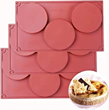 BAKER DEPOT 3 Cavity Large Round Disc Candy Silicone Molds Pastry Bakeware for Baking Soap Making Epoxy Resin Crafting Pro...