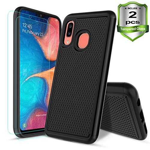 Samsung Galaxy A20/A30 Case,W/[2-Pack]Tempered Glass Screen Protector Dual Layers Heavy Duty Protective Hard PC Football Lines Design Back Soft TPU Rubber Armor Defender Shockproof Phone Case.(Black)