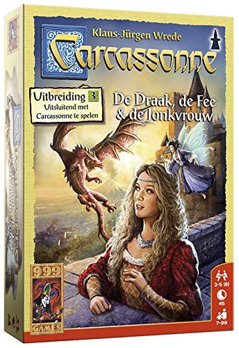 999 Games 999-Car09N Carcassonne: De Draak, Fee En Jonkvrouw Bordspel Bordspel, Multikleur
