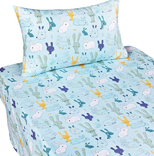 J-pinno Funny Bunny Rabbit Twin Sheet Set for Kids Boys Girls Children,100% Cotton, Flat Sheet + Fitted Sheet + Pillowcase Bedding Set