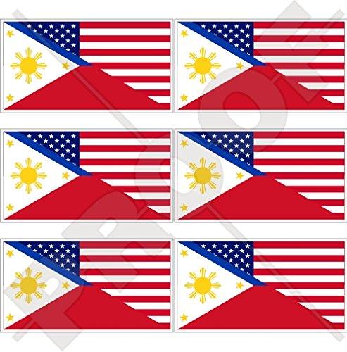 Lot de 6 mini autocollants en vinyle avec drapeau américain et philippines, 40 mm
