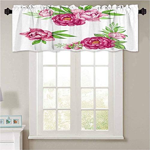 YUAZHOQI Curtain Valances Fresh Pink Peony Garland Rose and Green Leaves 1 Panel 54' x 18' Waterproof Window Valance for Bathroom