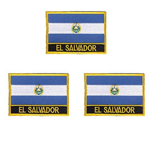 El Salvador Aufnäher, bestickt, Flagge, Emblem, zum Aufbügeln oder Aufnähen, 3 Stück