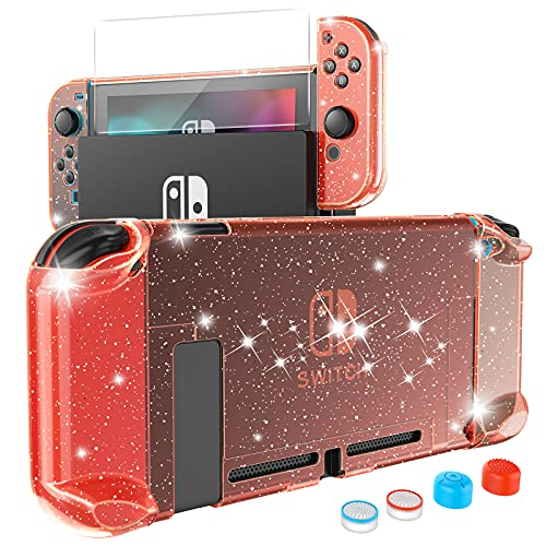 HEYSTOP Case Compatible with Nintendo Switch Dockable, Protective PC Cover Compatible with Nintendo Switch and Joy Con Controller with a Switch Screen Protector and 4 Thumb Stick Caps (Red Glitter)