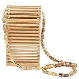 Bolso de hombro, mini bolso de hombro tejido de bambú de verano para teléfono móvil, bolso hecho...