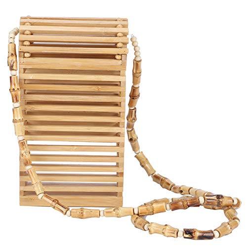Bolso de hombro | Mini bolsa de tejido de bambú de verano, bolso cruzado de teléfono móvil para mujeres, para vacaciones, viajes a la playa, compras, tiro en la calle, artículos de moda de verano.