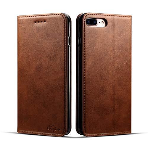 KelaSip Funda iPhone 6 Plus/6S Plus, Billetera de Cuero iPhone 6 Plus/6S Plus [Función de Soporte][Ranuras para Tarjetas][Magnética Cerrada] Estilo Libro Carcasa Case [Marrón]