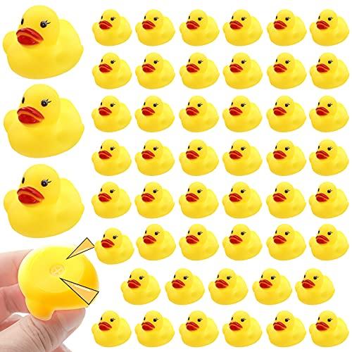 JTTJDB 50-Pieces Float & Squeak Mini Rubber Duck Baby Bath Ducky Sound Shower Toys for Kids
