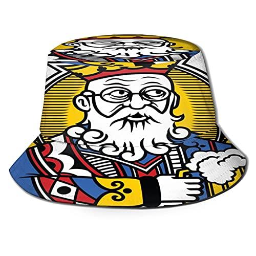 PUIO Angelhut Fischerhut,Karte, die König mit Becher Bier stilisiert,Bonie Safari Sonnenhüte zum Wandern im Freien für Männer und Frauen