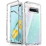 ULAK Galaxy S10 Plus Hülle, Super Fallschutz Schutzhülle Stylische Silikon Durchsichtig Handyhülle TPU Bumper Transparent Stoßfest Hülle Cover für Samsung Galaxy S10+/S10 Plus 6,4 Zoll - Glitzer Klar