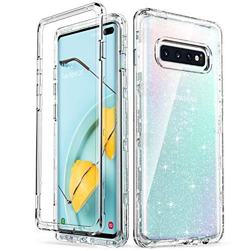 ULAK Cover Samsung Galaxy S10 Plus Glitter Trasparente, Galaxy S10+ Custodia Paraurti Assorbimento degli Urti e Anti-Graffio Progettato per Samsung Galaxy S10 Plus/S10+ (6.4 Pollici), Glitter