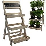 PROHEIM Blumentreppe aus FSC® Holz in weiß Pflanzentreppe mit Kreidetafel
