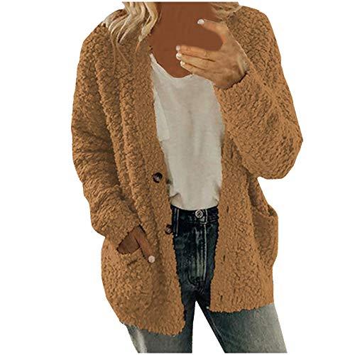 Dasongff Veste Teddy Doux à Manches Longues Manteau Long Femmes en Peluche Blouson Hiver Automne Chaude avec Poche Cardigan Vestes Casual Couleur Unie Pull Boutons Grande Taille