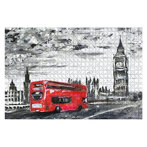 1000 piezas de pintura al óleo sobre lienzo Vista de la calle del autobús de Londres en la carretera Obra de arte Rompecabezas de piezas grandes y grandes para adultos Juguete educativo para niños Jue