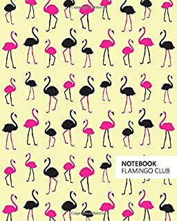 Notebook Flamingo Club: (Yellow Edition) Fun notebook 192 ruled/lined pages (8x10 inches / 20.3x25.4 cm / Large Jotter)