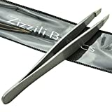 Zizzili Basics Tweezers - Surgical Grade Stainless Steel - Slant Tip for Expert Eyebrow Shaping and Facial Hair Removal - with Bonus Protective Pouch - Best Tweezer for Men and Women