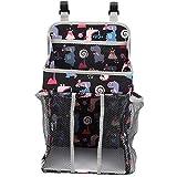 Bolsa de almacenamiento de pañales para bebés, cama de cuna para bebés, cama colgante lateral, multifuncional, almacenamiento de pañales, vivero, cesta, organizador de cesta portátil(43x25-Negro)