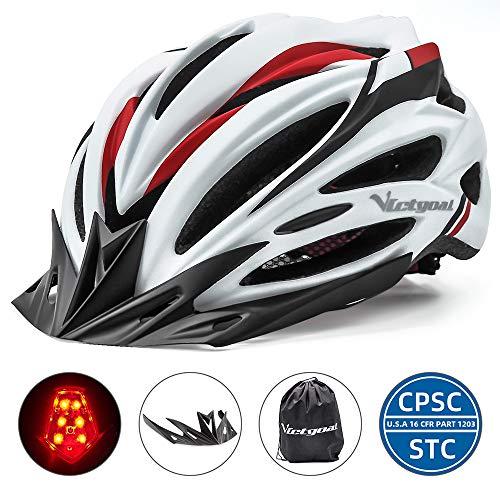 VICTGOAL Casco Bici Montagna Caschi Ciclismo per Mountain Bike Sicurezza Casco Regolabile Protezione Visiera a Scudo Casco Ideale per Unisex Adulti Caschi Taglia 57-61cm (Bianca)