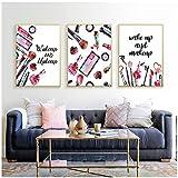 Reloj despertador de acuarela maquillaje moda arte lienzo pintura HD imprimir carteles foto de pared para sala de estar decoración del hogar- 40x60cmx3 sin marco