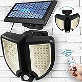 Luci Solari all'Aperto con Telecomando da Pannello Solare, 90 LED 3D Lampada da Parete Impermeabile Rotonda con Sensore di Induzione Regolabile, Luci Sicurezza Facili da Installare per Cortile