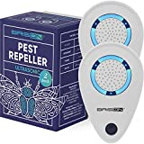 BRISON 2 Pack Ultrasonic Pest Reject Repeller - Plug in Electronic Non-Toxic Device - Electromagnetic and Ultrasound Control - Repellent for Mice Rats Bed Bugs Spiders Rodents Insects - Indoor