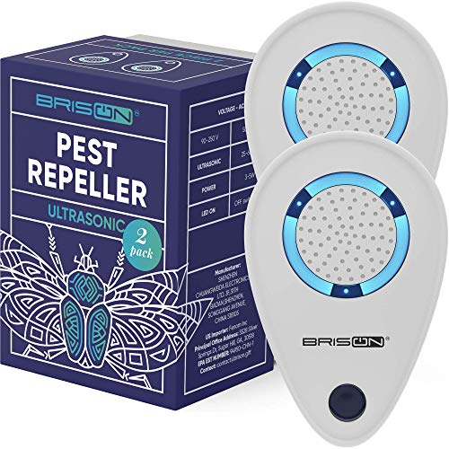 BRISON Ultrasonic Pest Reject Repeller - Plug in Electronic Non-Toxic Device - Electromagnetic and Ultrasound Control - Repellent for Mice Rats Bed Bugs Spiders Rodents Insects - Indoor [2 Pack]