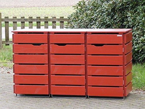3er Mülltonnenbox / Mülltonnenverkleidung 120 L Holz, Deckend Geölt Nordisch Rot - 2