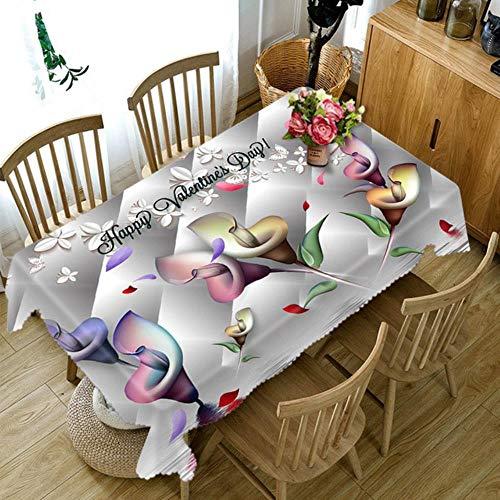 Viner Aanpasbaar 3D tafelkleed Kleurrijk feestelijk bloemenpatroon Wasbare doek Dikker Rechthoekig en rond tafelkleed, B, 140 X 220cm