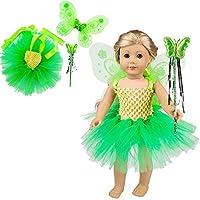 YAMI リカちゃん服 バービー服 ドレスセット 18インチ 人形服 アクセサリー 着せ替え バブルスカート 妖精の仮装パーティー衣装コスチューム マジックワンド人形アクセサリー バタフライフェアリーウィング かわいい (人形は含められません)緑