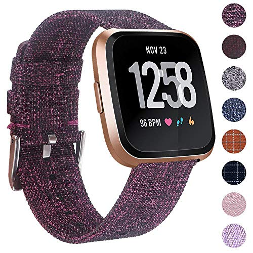 EZCO Compatible Fitbit Versa Bands, Woven Fabric Breathable Watch Strap Quick Release Replacement Wristband Accessories Compatible Fitbit Versa Smart Watch Women Man, Vintage Rosepink